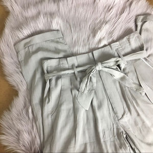 High waisted light grey cropped pants NWOT